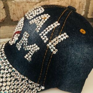 Accessories - Denim bling baseball mom cap 13751fa331b9